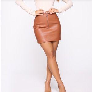 Terry High Rise Mini Skirt- Camel